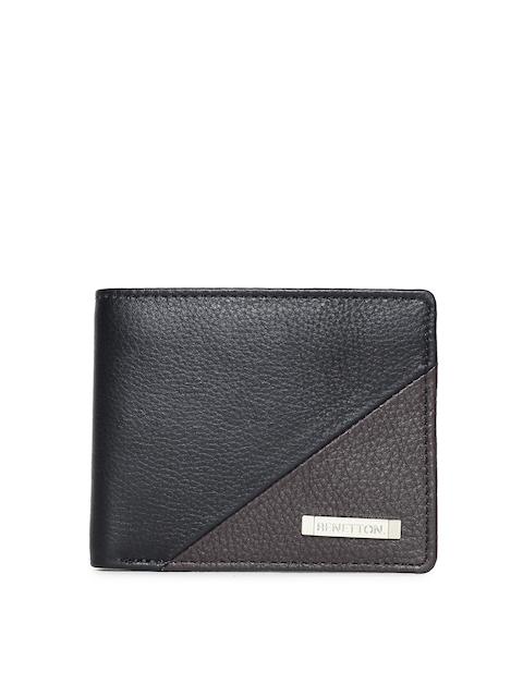 United Colors of Benetton Men Black Colourblocked Leather Wallet