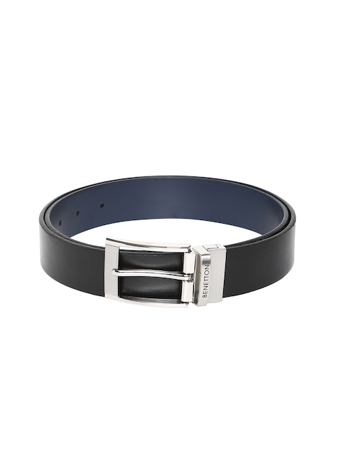 United Colors of Benetton Men Black & Navy Blue Solid Belt