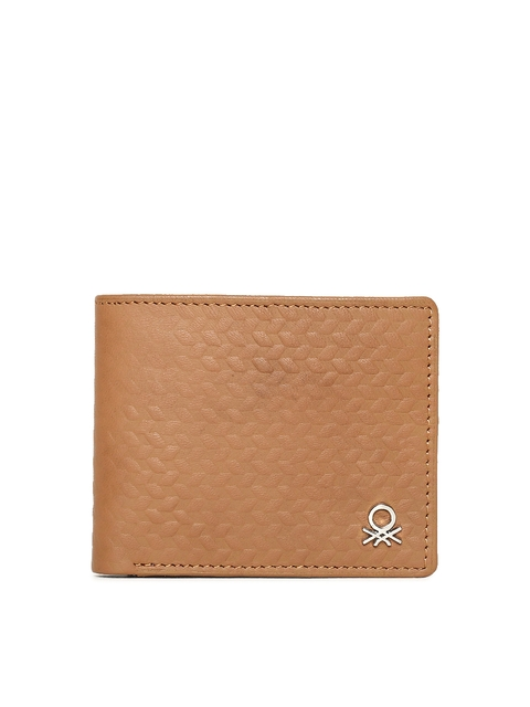 United Colors of Benetton Men Tan Solid Two Fold Wallet