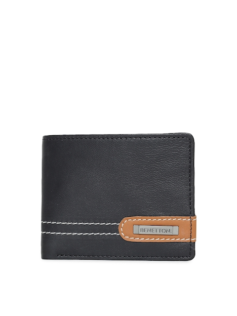 United Colors of Benetton Men Black Two Fold Wallet