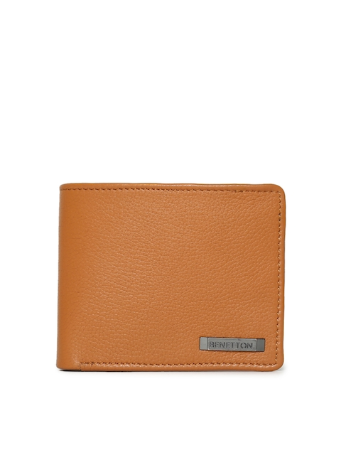 United Colors of Benetton Men Tan Leather Two Fold Wallet