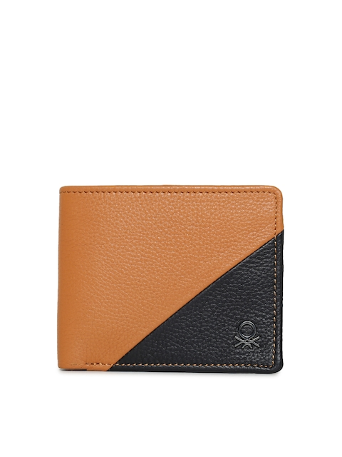 United Colors of Benetton Men Tan & Black Leather Two Fold Wallet
