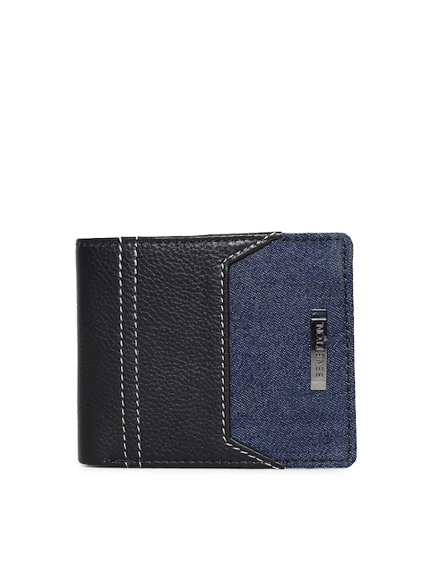 United Colors of Benetton Men Black & Navy Blue Solid Two Fold Wallet