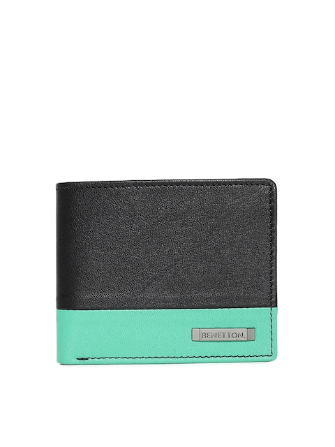 United Colors of Benetton Men Black & Blue Colourblocked Two Fold Wallet