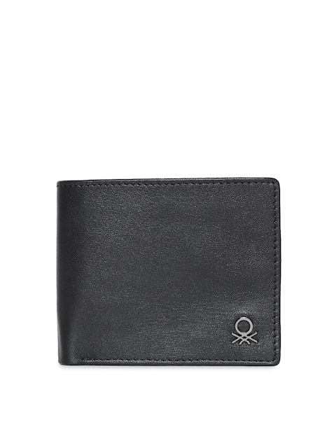 United Colors of Benetton Men Black Leather Two Fold Wallet