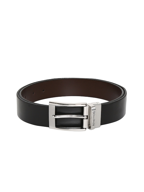United Colors of Benetton Men Black & Brown Reversible Solid Belt