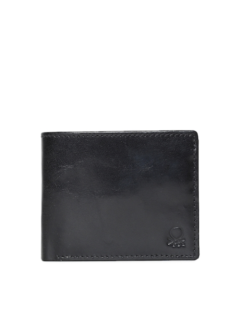 United Colors of Benetton Men Black Solid Leather Two Fold Wallet