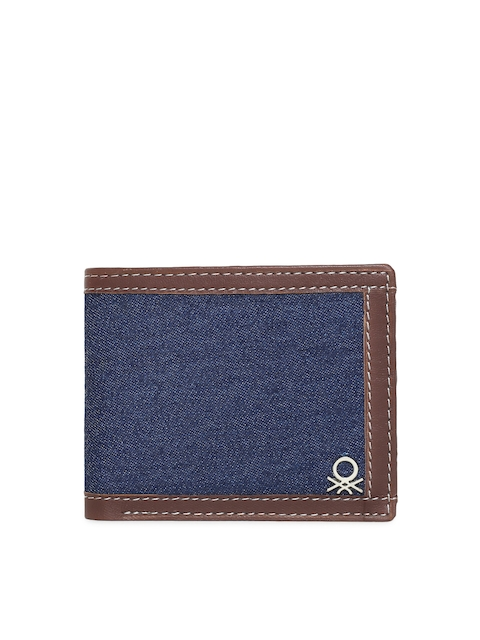 United Colors of Benetton Men Blue & Brown Two Fold Wallet