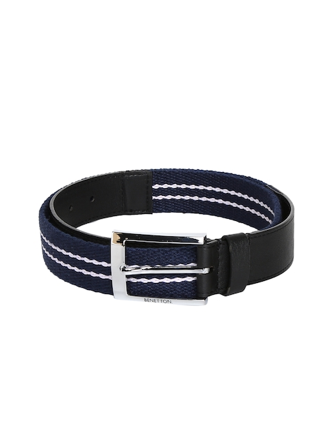 United Colors of Benetton Men Blue & Black Textured Belt