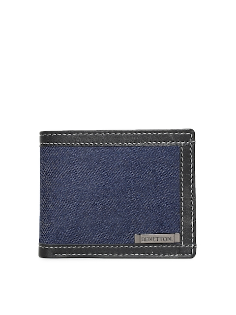 United Colors of Benetton Men Blue Solid Two Fold Wallet