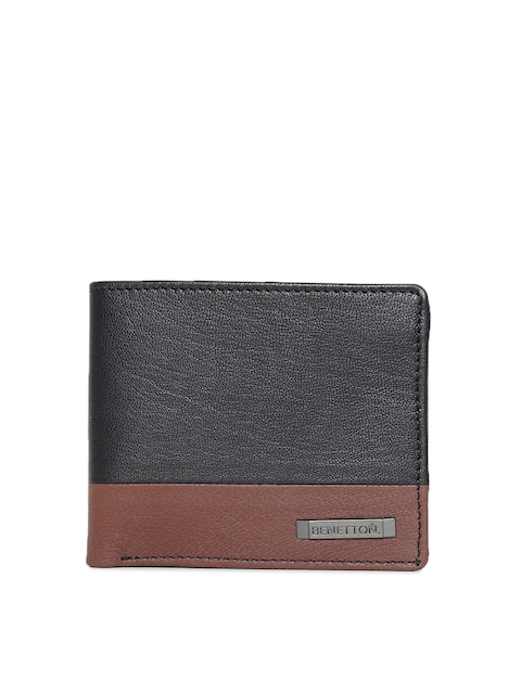United Colors of Benetton Men Black & Brown Colourblocked Leather Two Fold Wallet