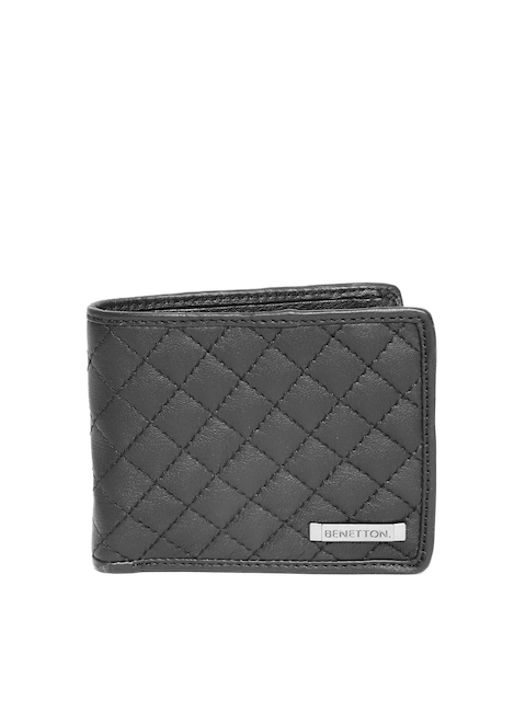 United Colors of Benetton Men Black Quilted Leather Two Fold Wallet
