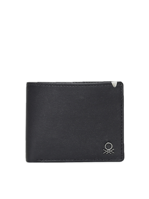 United Colors of Benetton Men Black Solid Two Fold Wallet
