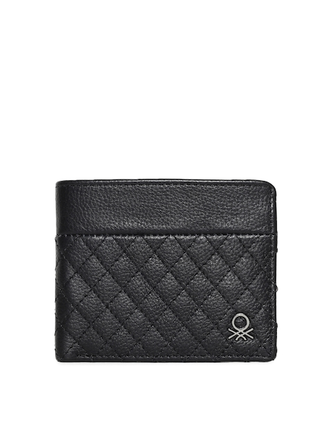 United Colors of Benetton Men Black Quilted Two Fold Wallet