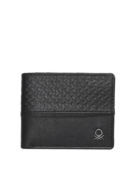 United Colors of Benetton Men Black Textured Two Fold Wallet
