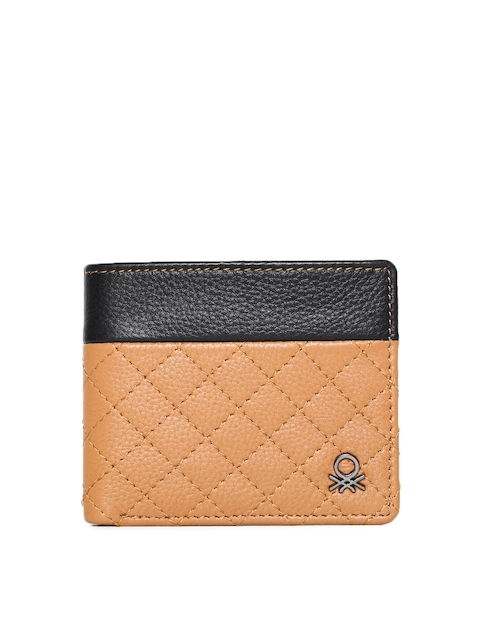 United Colors of Benetton Men Black & Brown Quilted Two Fold Wallet