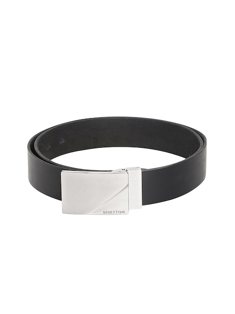 United Colors of Benetton Men Black Textured Belt
