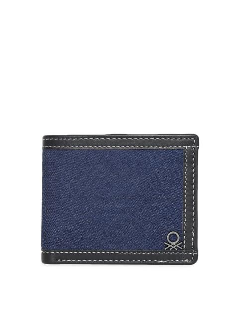 United Colors of Benetton Men Blue & Black Colourblocked Two Fold Wallet