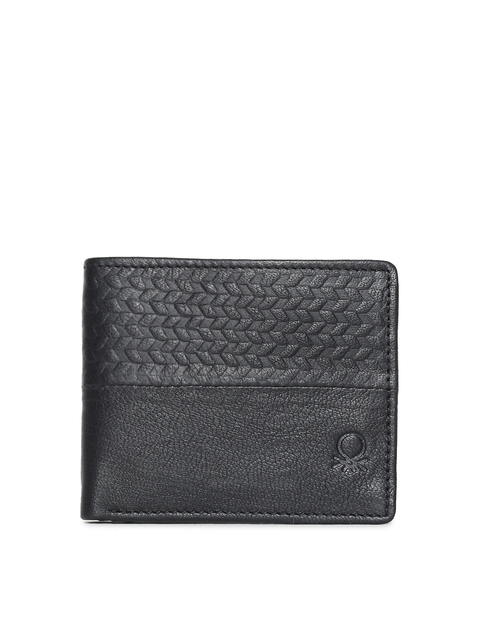 United Colors of Benetton Men Black Textured Leather Wallet