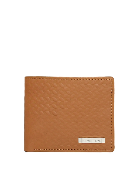United Colors of Benetton Men Tan Brown Textured Two Fold Wallet