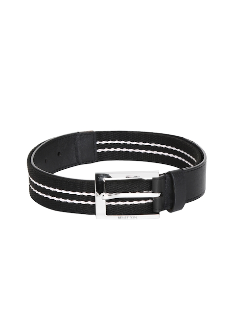 United Colors of Benetton Men Black & Off-White Woven Design Belt