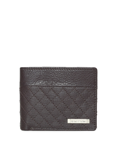 United Colors of Benetton Men Tan Textured Leather Two Fold Wallet