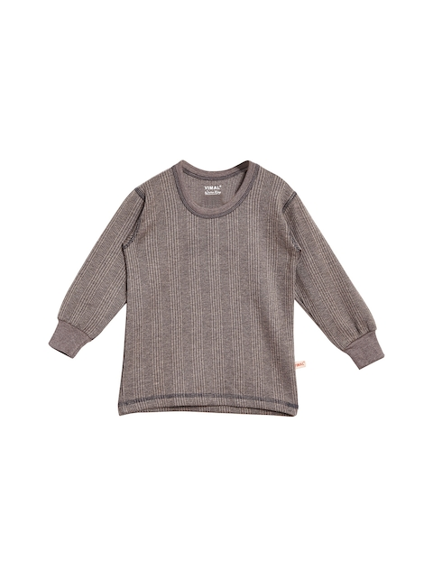 VIMAL JONNEY Boys Grey Striped Thermal T-shirt