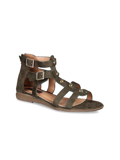 Flat n Heels Women Olive Green Solid Suede Gladiators