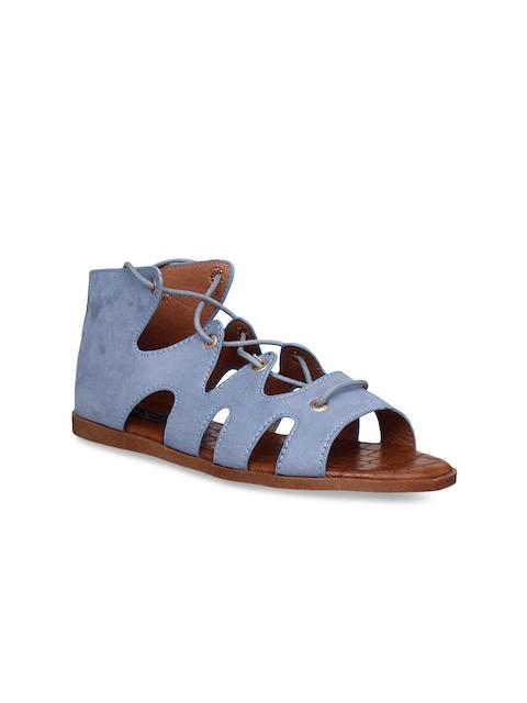Flat n Heels Women Blue Solid Suede Gladiators