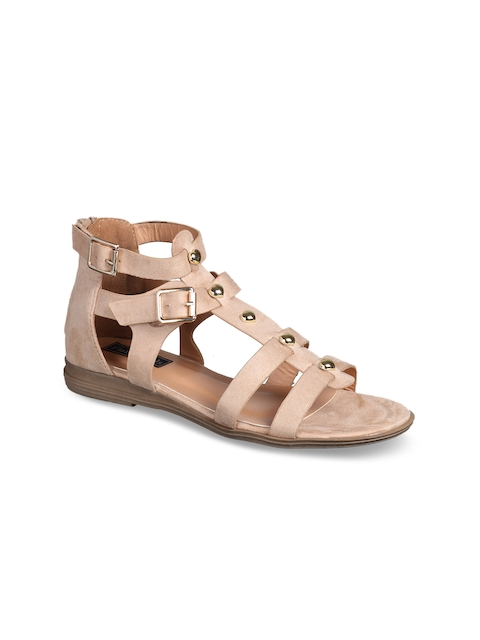 Flat n Heels Women Beige Solid Suede Gladiators