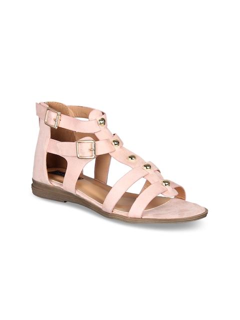 Flat n Heels Women Pink Solid Suede Gladiators