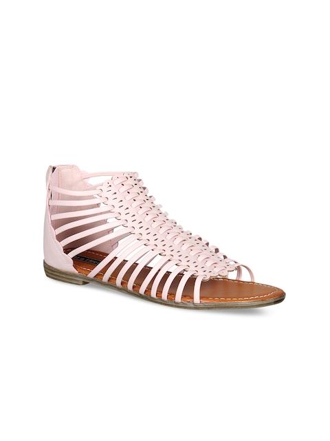 Flat n Heels Women Pink Solid Synthetic Gladiators
