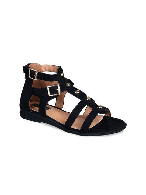 Flat n Heels Women Black Solid Suede Gladiators