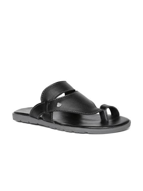 Duke Men Black Solid Slip-On Flip Flops
