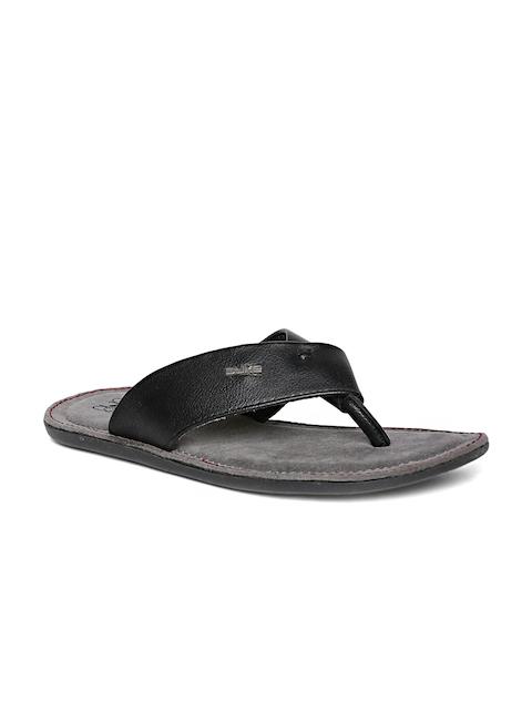 Duke Men Black Solid Thong Flip-Flops