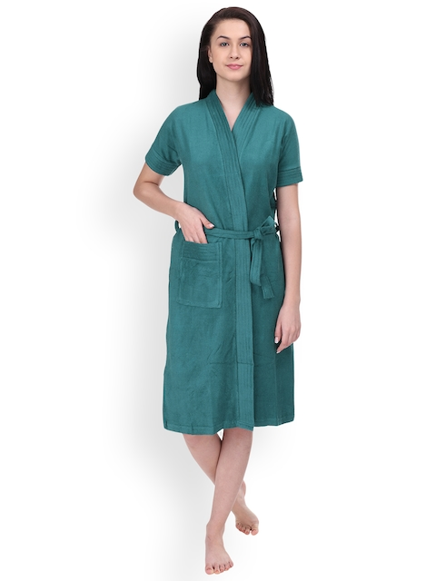 Red Rose Women Teal Solid Bath Robe