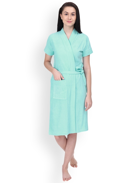 Red Rose Women Sea Green Solid Bath Robe