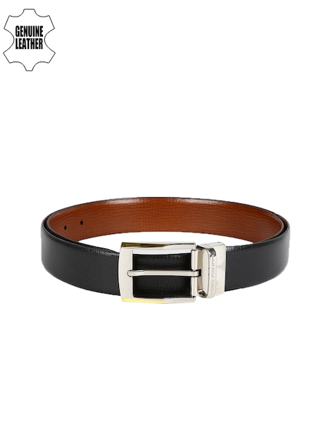 Louis Philippe Men Black & Brown Textured Belt