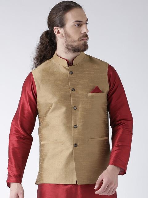 Deyann Men Beige Nehru Jacket