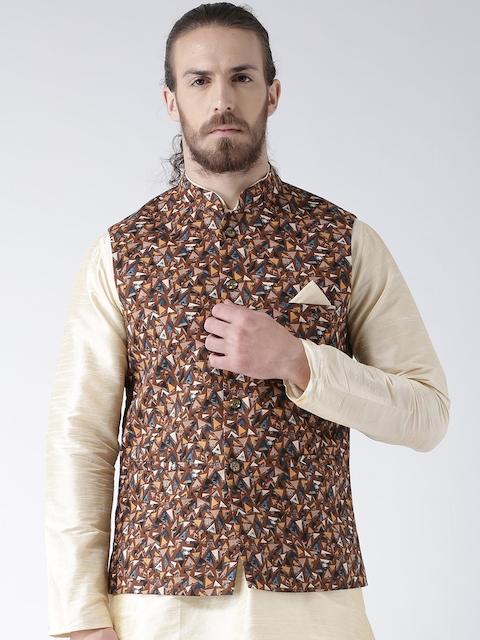 Deyann Men Brown Printed Nehru Jacket