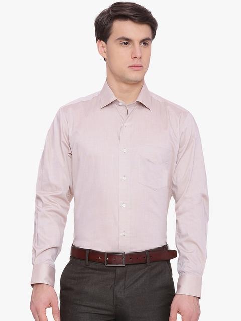 Van Heusen Men Beige Regular Fit Solid Formal Shirt