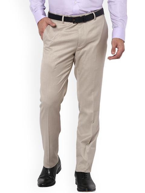 Van Heusen Men Beige Regular Fit Solid Formal Trousers