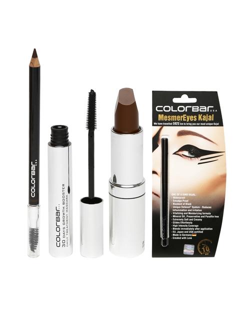 Colorbar Women Combo Set of Mascara Brow Pencil Kajal & Lipstick