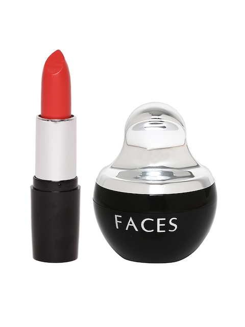 Faces Set of Golden Beige Mineral Powder Compact 04 & Go Chic Candied Fruits Lipstick 13