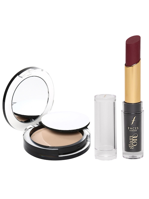 Faces Glam On Natural Prime Perfect Pressed Powder Compact & Lipstick