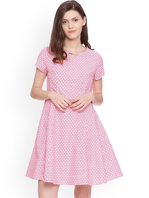 Allen Solly Woman Pink Printed A-Line Dress