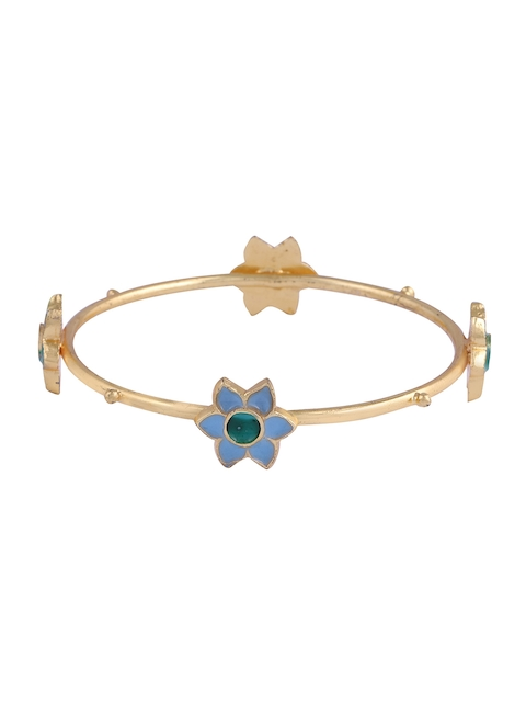 Mrinalini Chandra Gold-Toned & Blue Enamelled Bangle