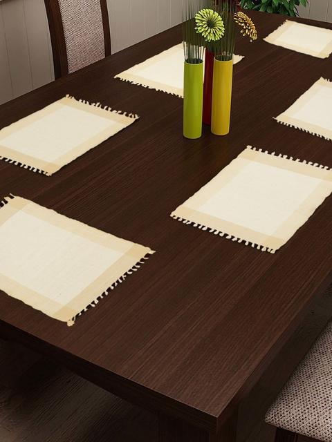 NEUDIS Set Of 6 Off-White Woven Design Table Mat