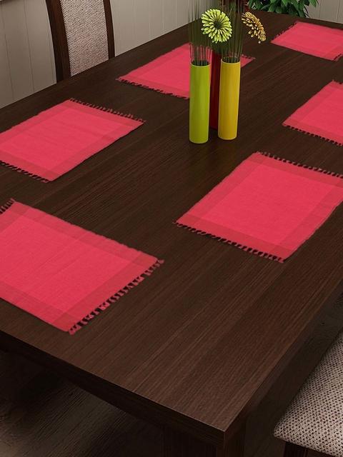 NEUDIS Set Of 6 Red Woven Design Table Mats