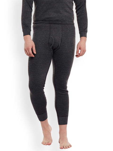 VIAL JONNEY Men Charcoal Solid Thermal Bottoms Cover_lower_001